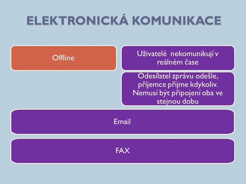 """ELEKTRONICKÁ KOMUNIKACE Komunikace v reálném čase Odesílatel zprávu odešle, příjemce přijme """"okamžitě Minimální zpoždění dané rychlostí přenosu dat."""