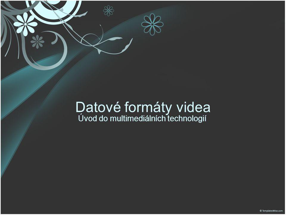 Datové formáty videa Úvod do multimediálních technologií