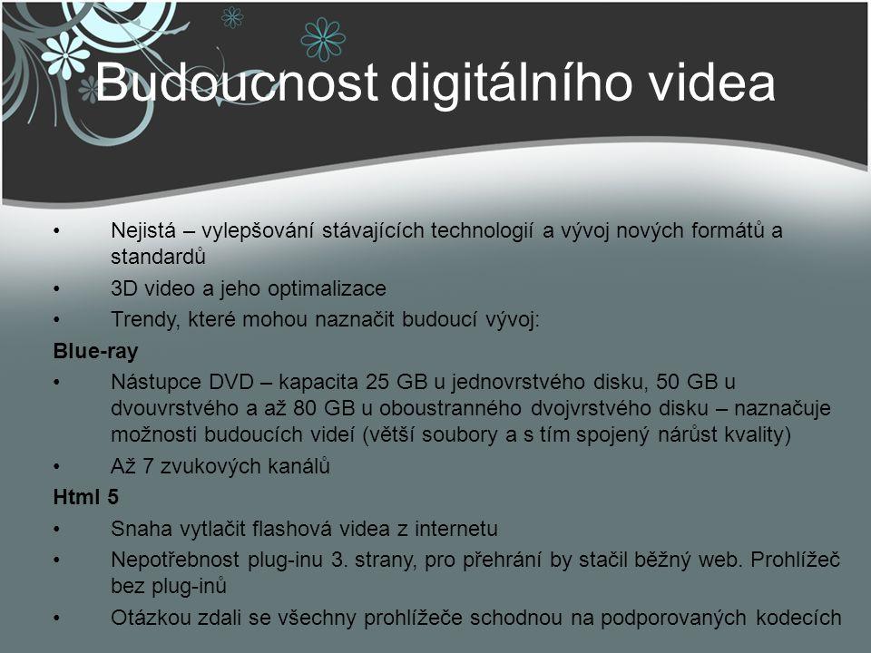 Budoucnost digitálního videa Nejistá – vylepšování stávajících technologií a vývoj nových formátů a standardů 3D video a jeho optimalizace Trendy, kte