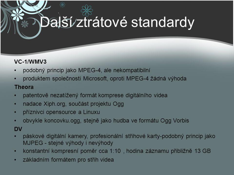 Další ztrátové standardy VC-1/WMV3 podobný princip jako MPEG-4, ale nekompatibilní produktem společnosti Microsoft, oproti MPEG-4 žádná výhoda Theora
