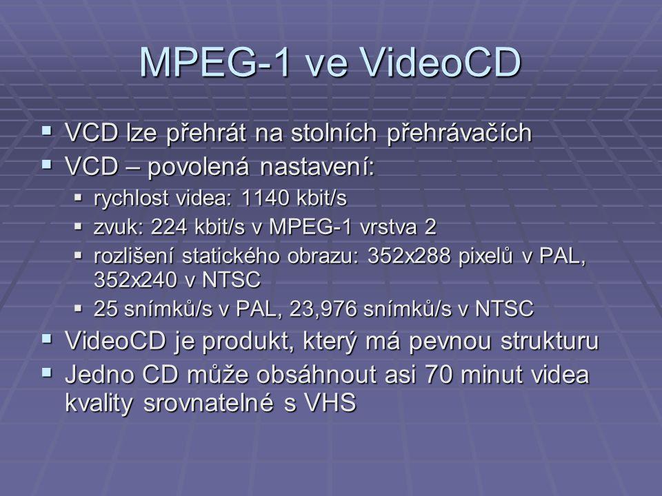 MPEG-1 ve VideoCD  VCD lze přehrát na stolních přehrávačích  VCD – povolená nastavení:  rychlost videa: 1140 kbit/s  zvuk: 224 kbit/s v MPEG-1 vrs
