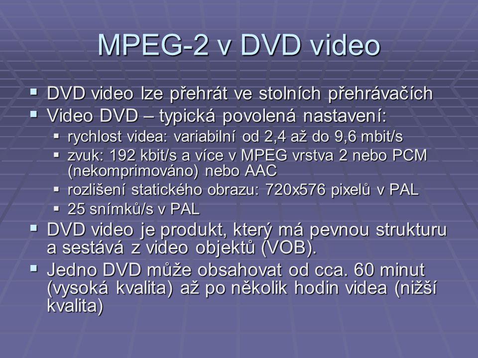 MPEG-2 v DVD video  DVD video lze přehrát ve stolních přehrávačích  Video DVD – typická povolená nastavení:  rychlost videa: variabilní od 2,4 až d
