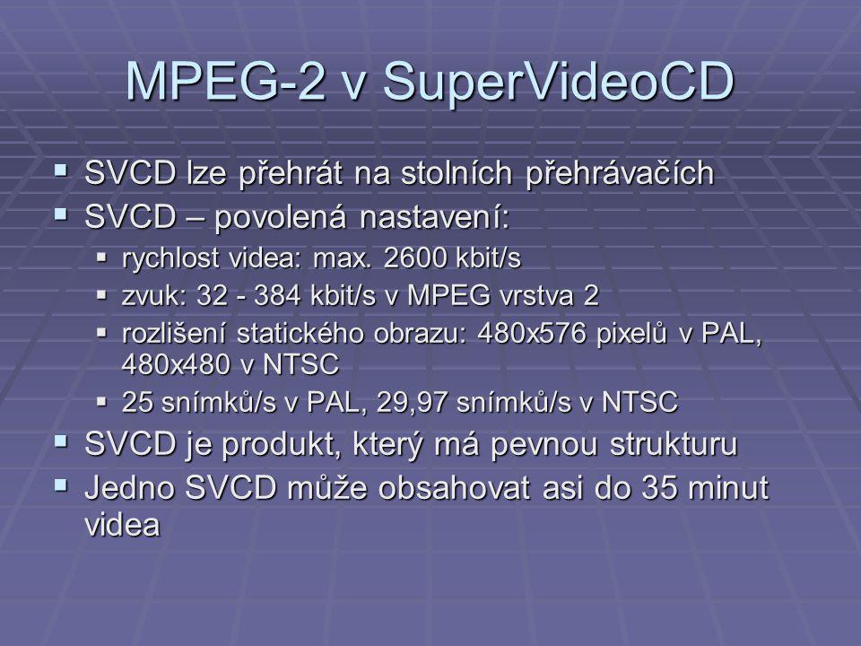 MPEG-2 v SuperVideoCD  SVCD lze přehrát na stolních přehrávačích  SVCD – povolená nastavení:  rychlost videa: max. 2600 kbit/s  zvuk: 32 - 384 kbi