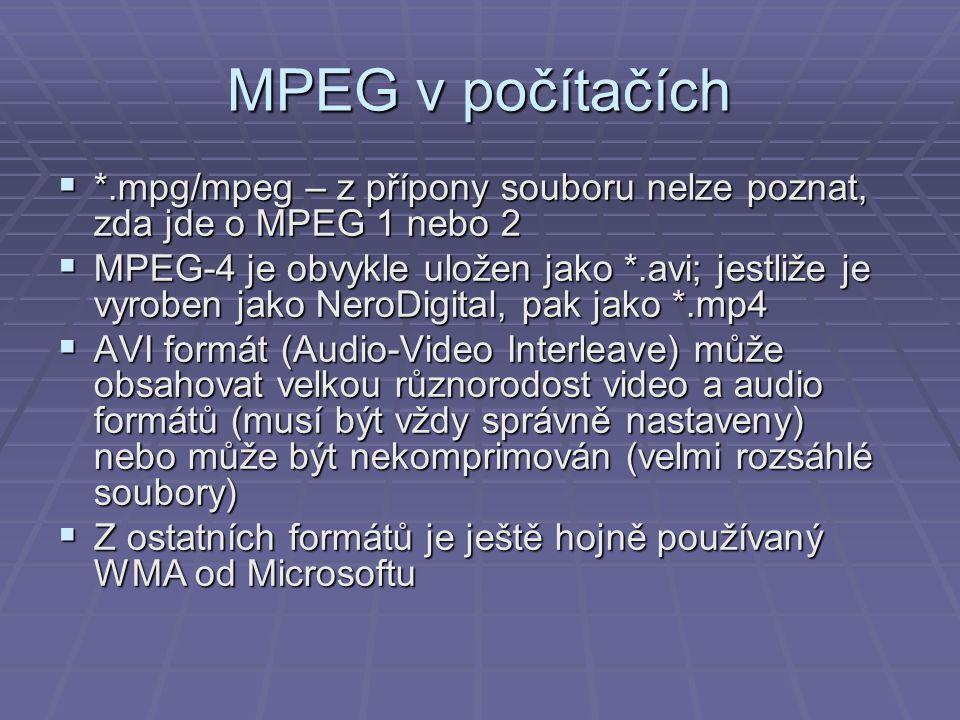 MPEG v počítačích  *.mpg/mpeg – z přípony souboru nelze poznat, zda jde o MPEG 1 nebo 2  MPEG-4 je obvykle uložen jako *.avi; jestliže je vyroben ja