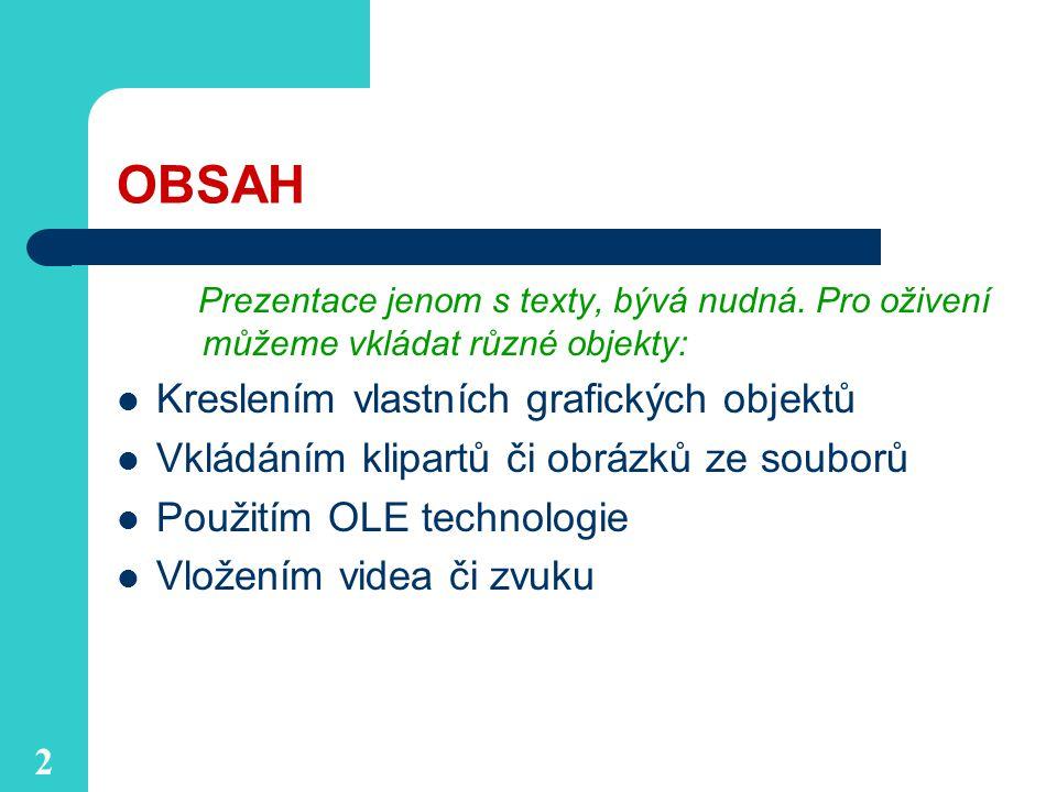 2 OBSAH Prezentace jenom s texty, bývá nudná.
