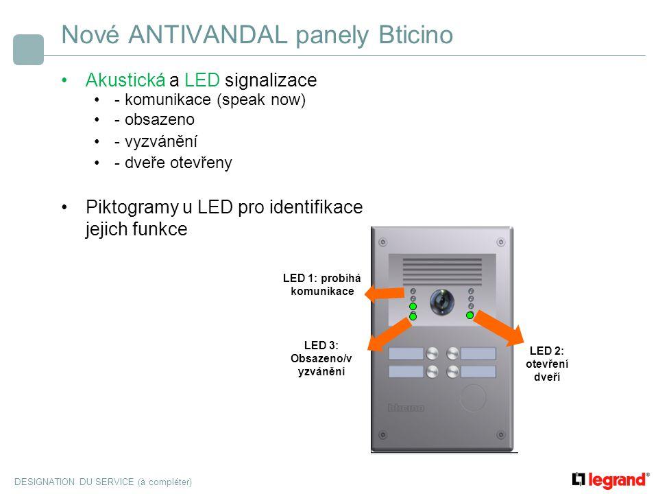 DESIGNATION DU SERVICE (à compléter) Nové ANTIVANDAL panely Bticino Akustická a LED signalizace - komunikace (speak now) - obsazeno - vyzvánění - dveř