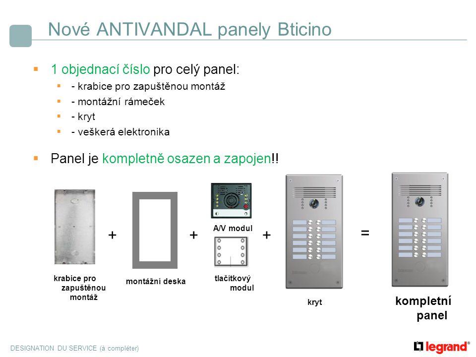 DESIGNATION DU SERVICE (à compléter) Nové ANTIVANDAL panely Bticino  1 objednací číslo pro celý panel:  - krabice pro zapuštěnou montáž  - montážní