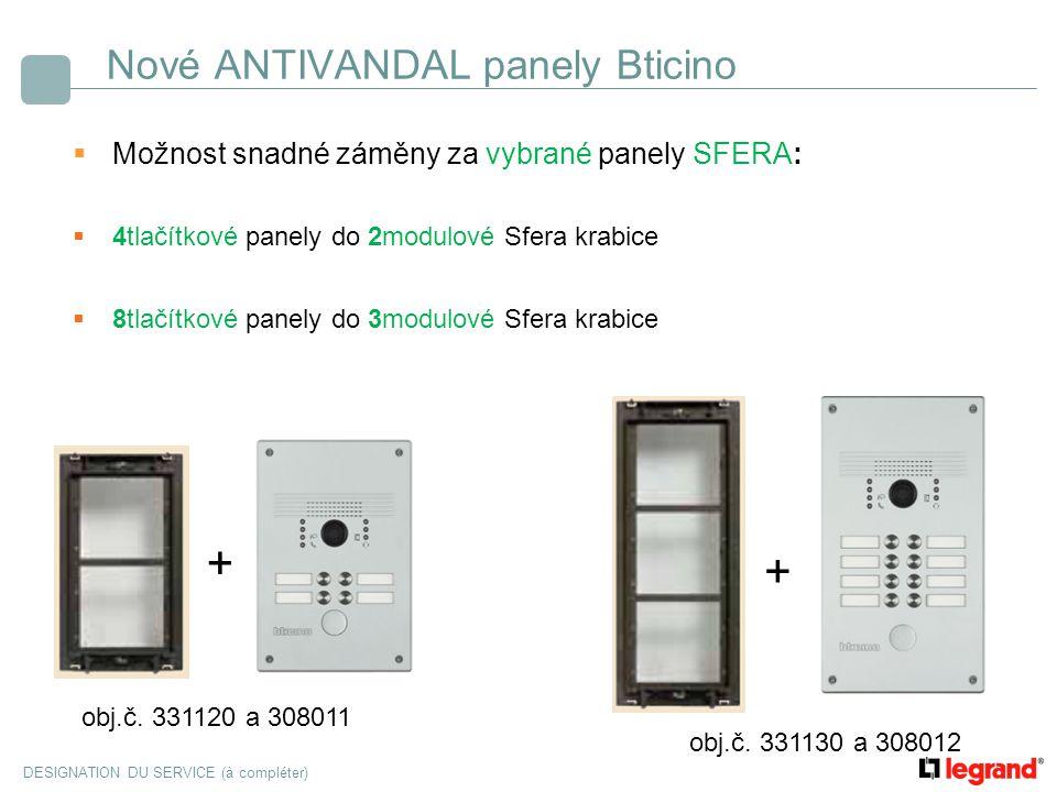 DESIGNATION DU SERVICE (à compléter) Nové ANTIVANDAL panely Bticino  Možnost snadné záměny za vybrané panely SFERA:  4tlačítkové panely do 2modulové