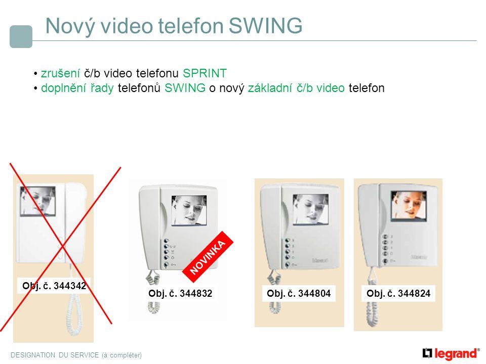 DESIGNATION DU SERVICE (à compléter) Nový video telefon SWING zrušení č/b video telefonu SPRINT doplnění řady telefonů SWING o nový základní č/b video