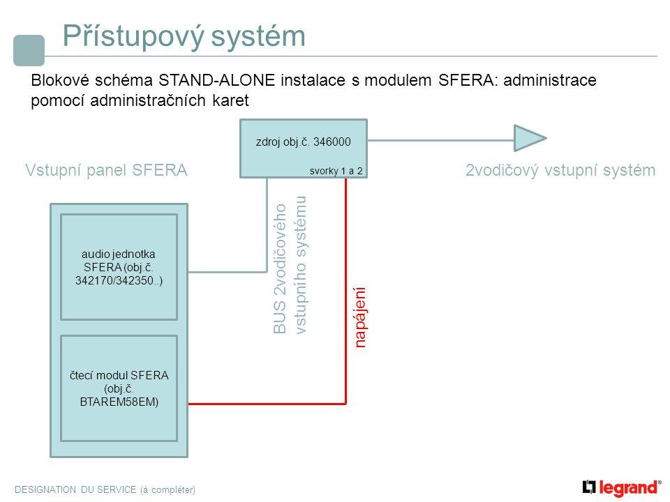 DESIGNATION DU SERVICE (à compléter) Přístupový systém Blokové schéma STAND-ALONE instalace s modulem SFERA: administrace pomocí administračních karet