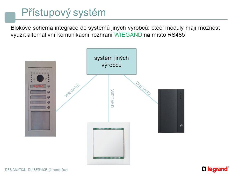 DESIGNATION DU SERVICE (à compléter) Přístupový systém Blokové schéma integrace do systémů jiných výrobců: čtecí moduly mají možnost využít alternativ