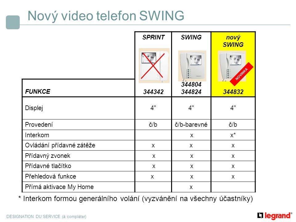 DESIGNATION DU SERVICE (à compléter) Nový video telefon SWING SPRINTSWINGnový SWING FUNKCE344342 344804 344824344832 Displej4