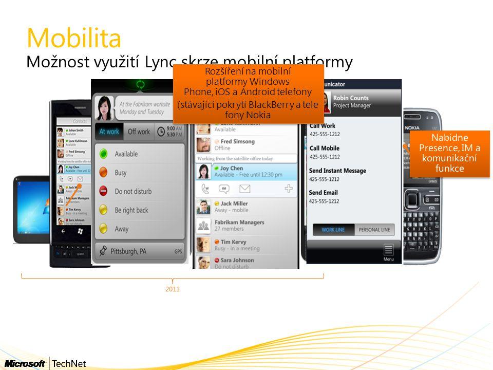 Mobilita Možnost využití Lync skrze mobilní platformy 2011 Rozšíření na mobilní platformy Windows Phone, iOS a Android telefony (stávající pokrytí Bla