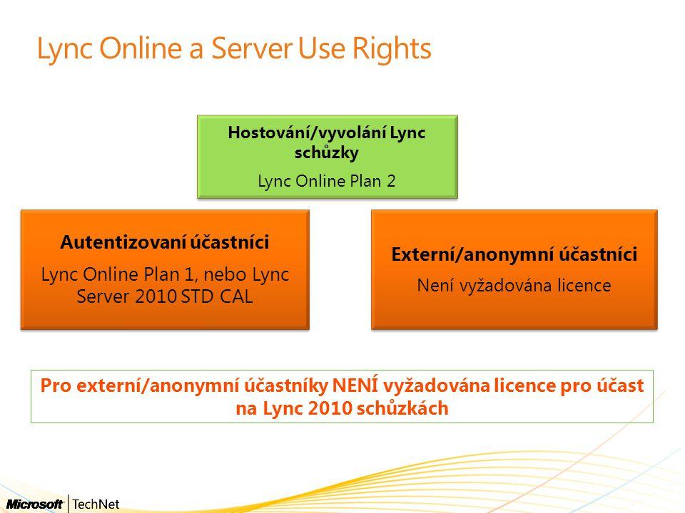 Lync Online a Server Use Rights Hostování/vyvolání Lync schůzky Lync Online Plan 2 Externí/anonymní účastníci Není vyžadována licence Autentizovaní úč