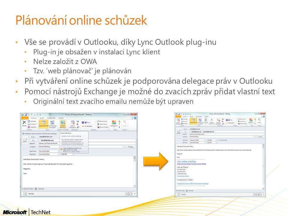 Plánování online schůzek Vše se provádí v Outlooku, díky Lync Outlook plug-inu Plug-in je obsažen v instalaci Lync klient Nelze založit z OWA Tzv. 'we