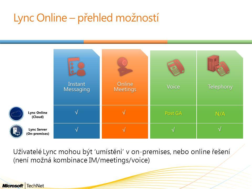 Uživatelé Lync mohou být 'umístěni' v on-premises, nebo online řešení (není možná kombinace IM/meetings/voice) Lync Online – přehled možností