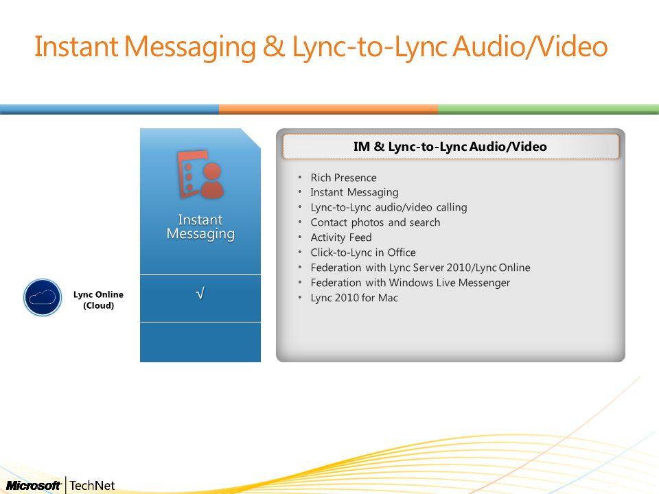 Instant Messaging & Lync-to-Lync Audio/Video Rich Presence Instant Messaging Lync-to-Lync audio/video calling Contact photos and search Activity Feed Click-to-Lync in Office Federation with Lync Server 2010/Lync Online Federation with Windows Live Messenger Lync 2010 for Mac IM & Lync-to-Lync Audio/Video