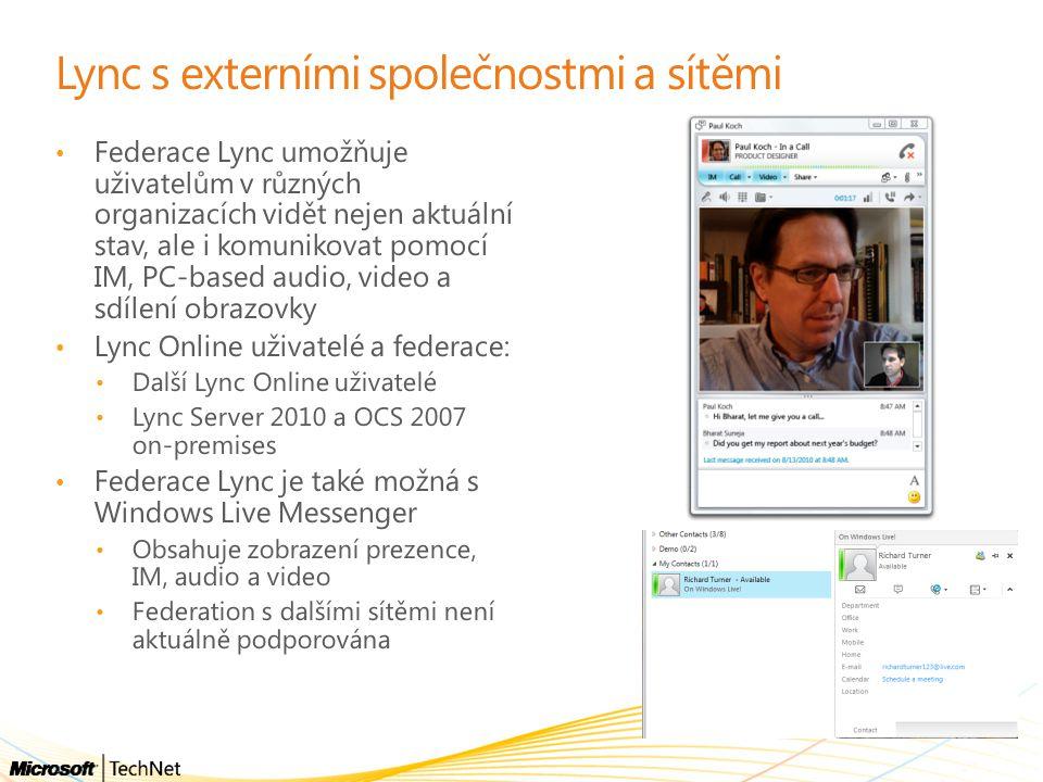 Lync s externími společnostmi a sítěmi Federace Lync umožňuje uživatelům v různých organizacích vidět nejen aktuální stav, ale i komunikovat pomocí IM