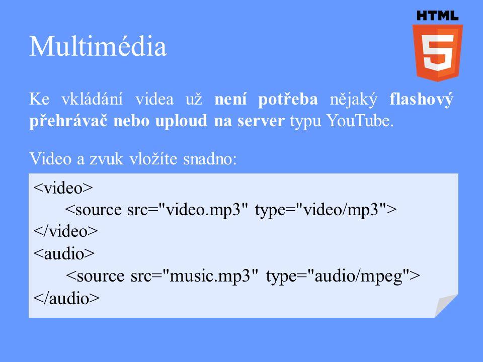 Multimédia Ke vkládání videa už není potřeba nějaký flashový přehrávač nebo uploud na server typu YouTube. Video a zvuk vložíte snadno: