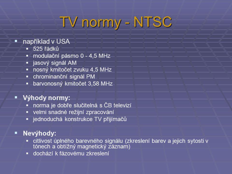 TV normy - NTSC  například v USA  525 řádků  modulační pásmo 0 - 4,5 MHz  jasový signál AM  nosný kmitočet zvuku 4,5 MHz  chrominanční signál PM  barvonosný kmitočet 3,58 MHz  Výhody normy:  norma je dobře slučitelná s ČB televizí  velmi snadné režijní zpracování  jednoduchá konstrukce TV přijímačů  Nevýhody:  citlivost úplného barevného signálu (zkreslení barev a jejich sytosti v tónech a obtížný magnetický záznam)  dochází k fázovému zkreslení