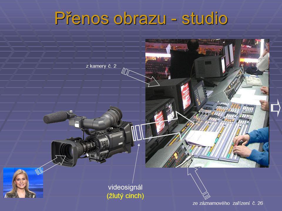 z kamery č. 2 ze záznamového zařízení č. 26 videosignál (žlutý cinch)