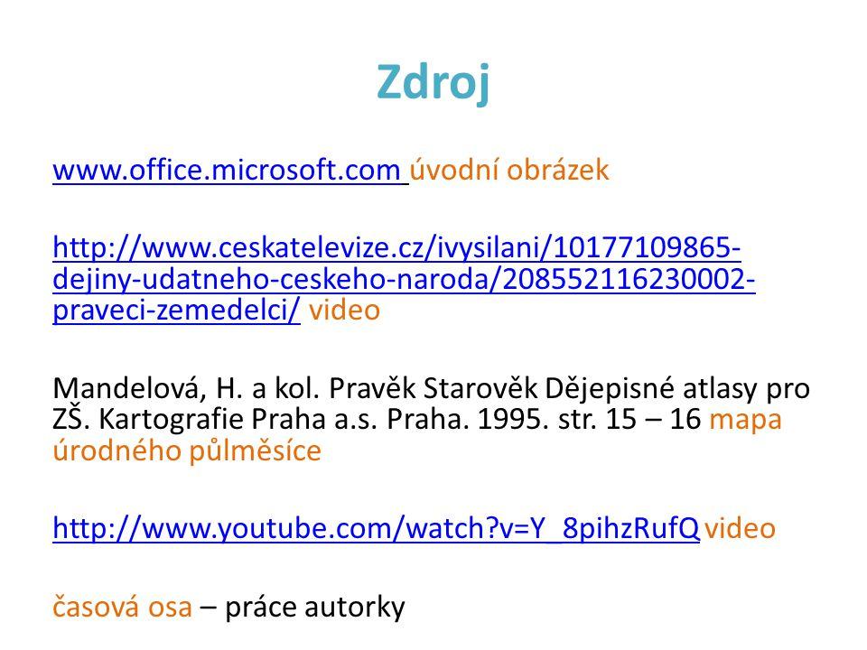 Zdroj www.office.microsoft.comwww.office.microsoft.com úvodní obrázek http://www.ceskatelevize.cz/ivysilani/10177109865- dejiny-udatneho-ceskeho-narod