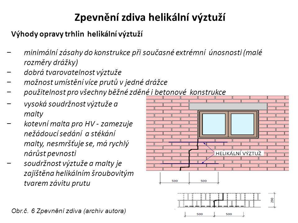 Zpevnění zdiva helikální výztuží − minimální zásahy do konstrukce při současné extrémní únosnosti (malé rozměry drážky) − dobrá tvarovatelnost výztuže