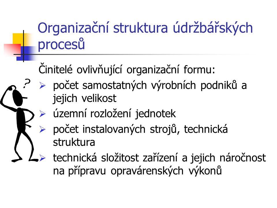 Organizační struktura údržbářských procesů Činitelé ovlivňující organizační formu:  počet samostatných výrobních podniků a jejich velikost  územní r