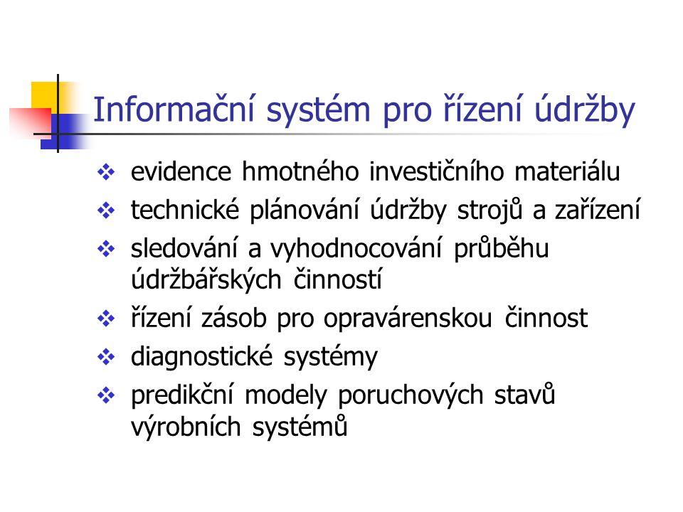 Informační systém pro řízení údržby  evidence hmotného investičního materiálu  technické plánování údržby strojů a zařízení  sledování a vyhodnocov