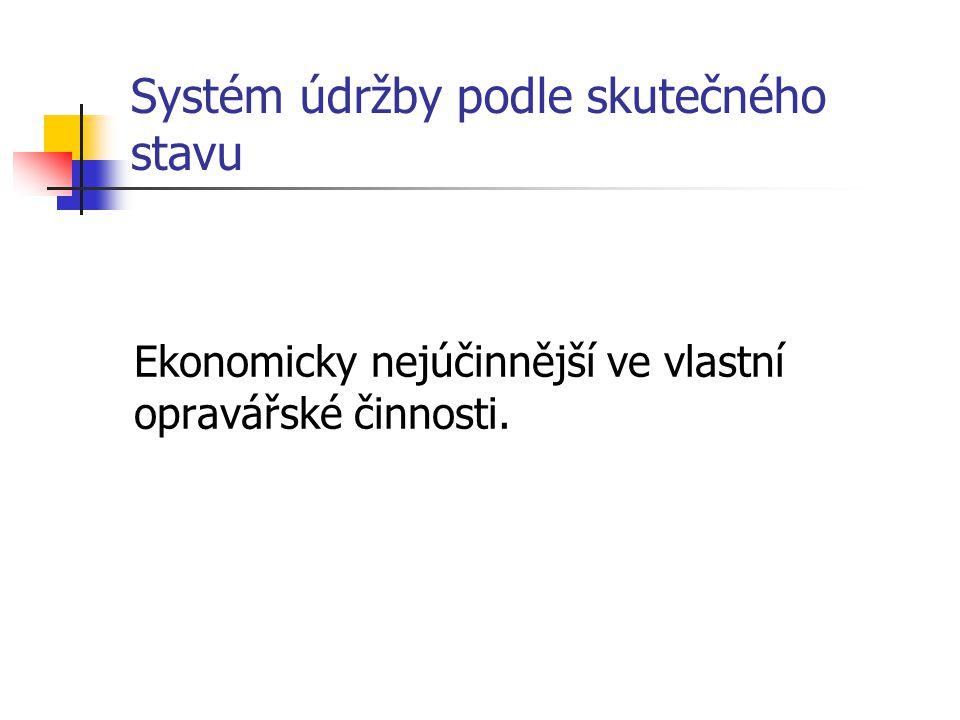 Systém údržby podle skutečného stavu Ekonomicky nejúčinnější ve vlastní opravářské činnosti.