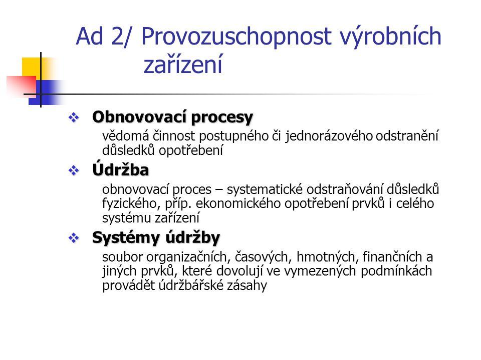 Ad 2/ Provozuschopnost výrobních zařízení  Obnovovací procesy vědomá činnost postupného či jednorázového odstranění důsledků opotřebení  Údržba obno