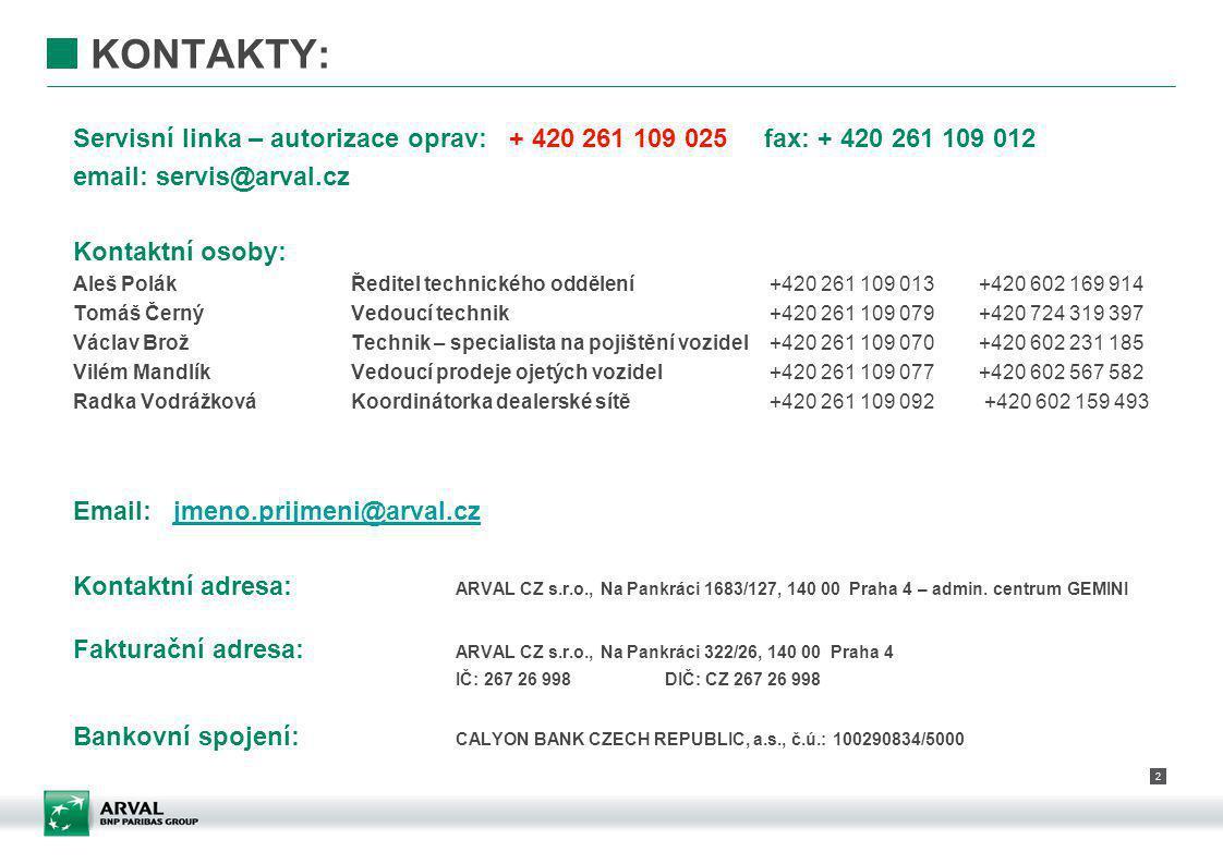2 KONTAKTY: Servisní linka – autorizace oprav: + 420 261 109 025 fax: + 420 261 109 012 email: servis@arval.cz Kontaktní osoby: Aleš PolákŘeditel tech
