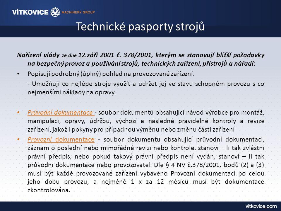 Technické pasporty strojů Nařízení vlády ze dne 12.září 2001 č.
