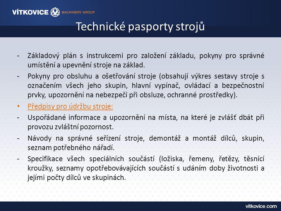 Technické pasporty strojů -Základový plán s instrukcemi pro založení základu, pokyny pro správné umístění a upevnění stroje na základ.