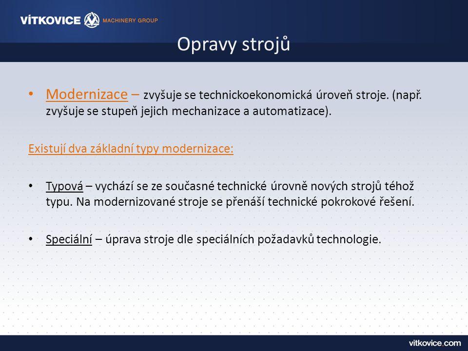 Opravy strojů Modernizace – zvyšuje se technickoekonomická úroveň stroje.