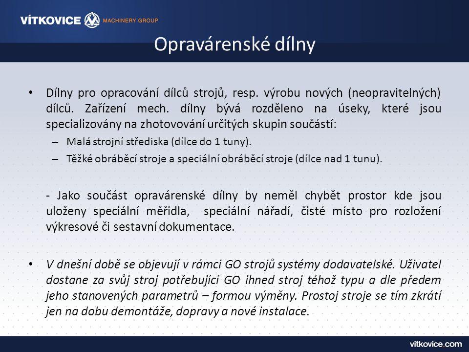 Opravárenské dílny Dílny pro opracování dílců strojů, resp.