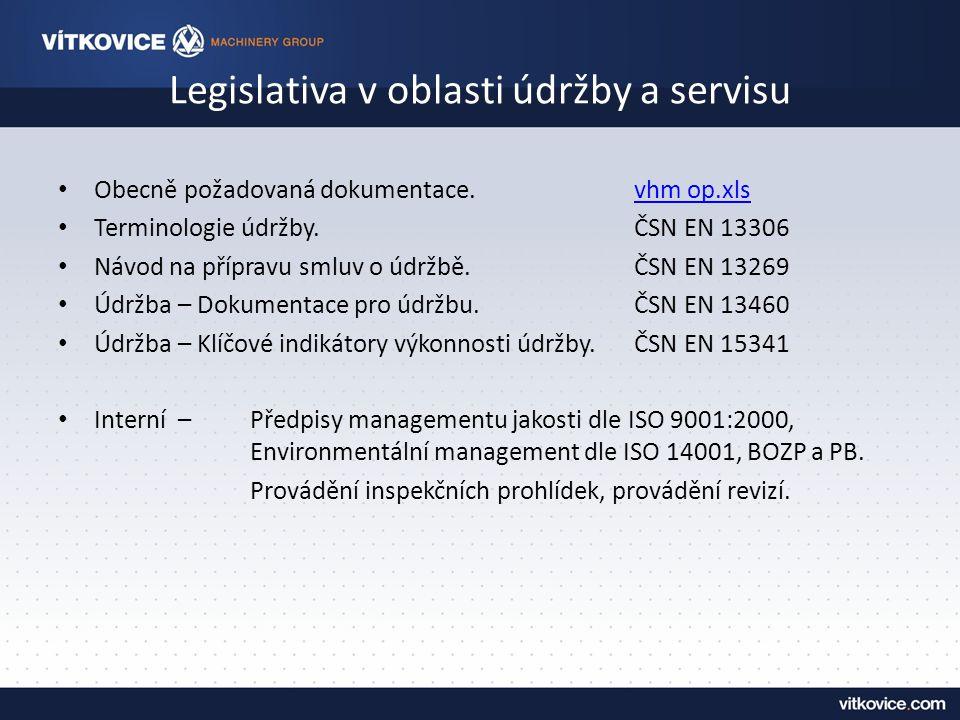 Legislativa v oblasti údržby a servisu Obecně požadovaná dokumentace.vhm op.xlsvhm op.xls Terminologie údržby.ČSN EN 13306 Návod na přípravu smluv o údržbě.ČSN EN 13269 Údržba – Dokumentace pro údržbu.ČSN EN 13460 Údržba – Klíčové indikátory výkonnosti údržby.ČSN EN 15341 Interní – Předpisy managementu jakosti dle ISO 9001:2000, Environmentální management dle ISO 14001, BOZP a PB.