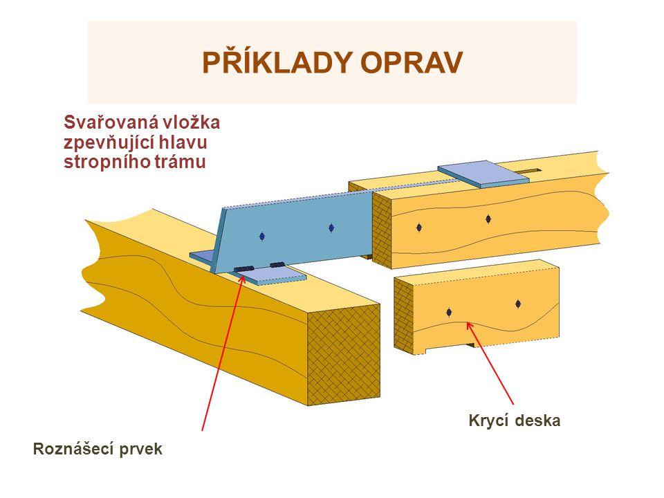 PŘÍKLADY OPRAV Roznášecí prvek Krycí deska Svařovaná vložka zpevňující hlavu stropního trámu