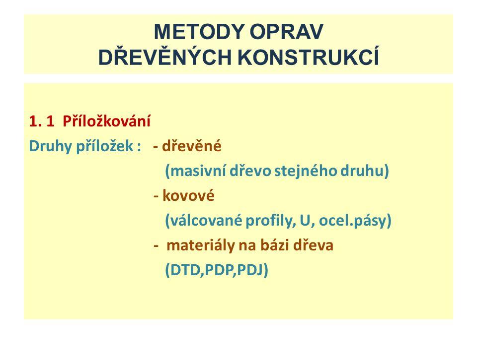 METODY OPRAV DŘEVĚNÝCH KONSTRUKCÍ 1. 1 Příložkování Druhy příložek : - dřevěné (masivní dřevo stejného druhu) - kovové (válcované profily, U, ocel.pás