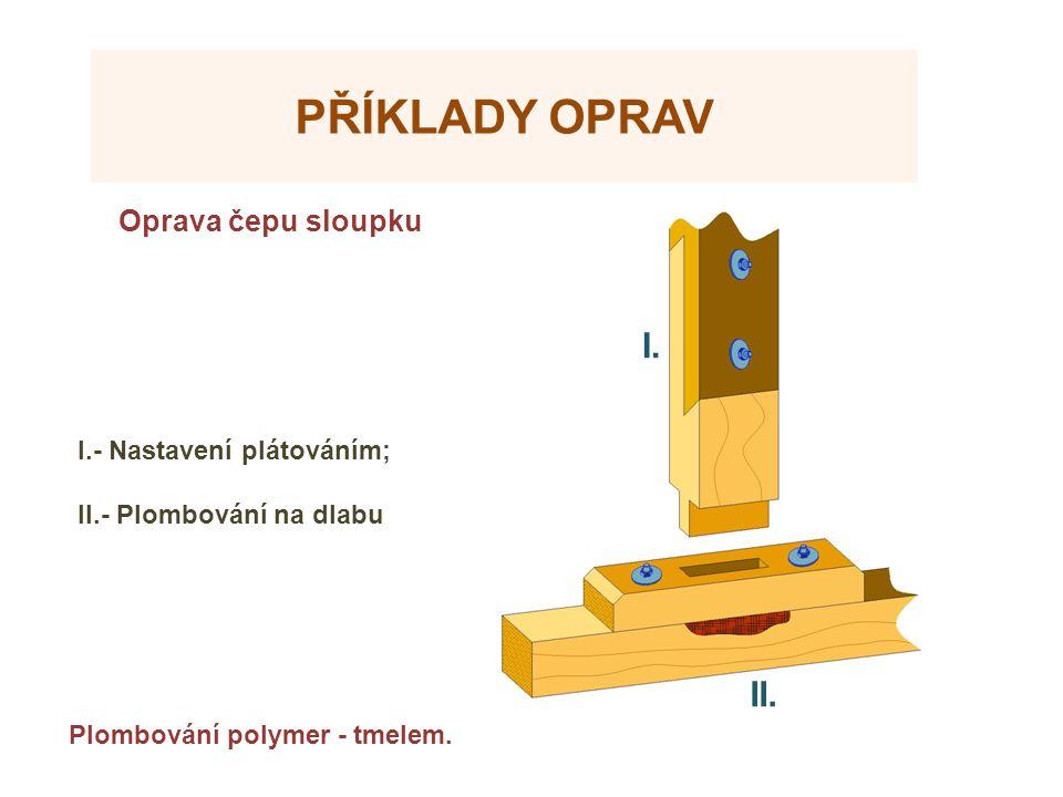 PŘÍKLADY OPRAV Oprava čepu sloupku Plombování polymer - tmelem. I.- Nastavení plátováním; II.- Plombování na dlabu I. II.