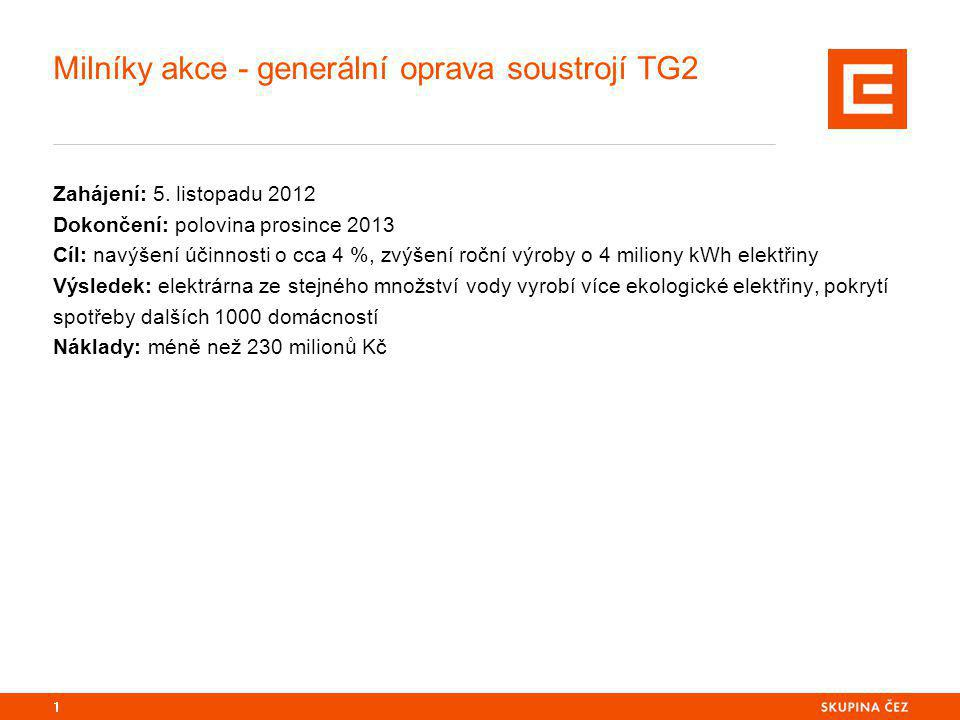 Milníky akce - generální oprava soustrojí TG2 Zahájení: 5.