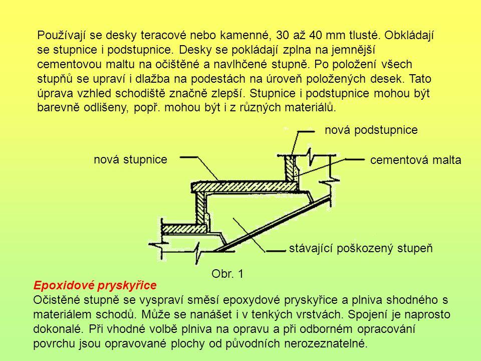 . Používají se desky teracové nebo kamenné, 30 až 40 mm tlusté. Obkládají se stupnice i podstupnice. Desky se pokládají zplna na jemnější cementovou m