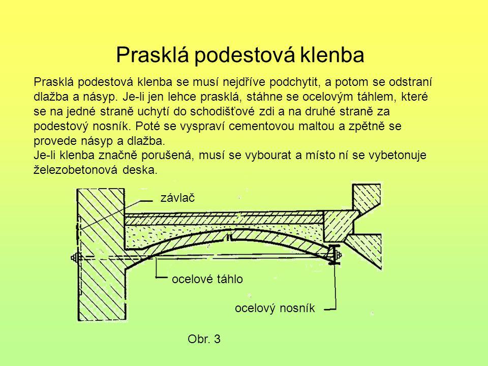 Prasklá podestová klenba Obr. 3 Prasklá podestová klenba se musí nejdříve podchytit, a potom se odstraní dlažba a násyp. Je-li jen lehce prasklá, stáh
