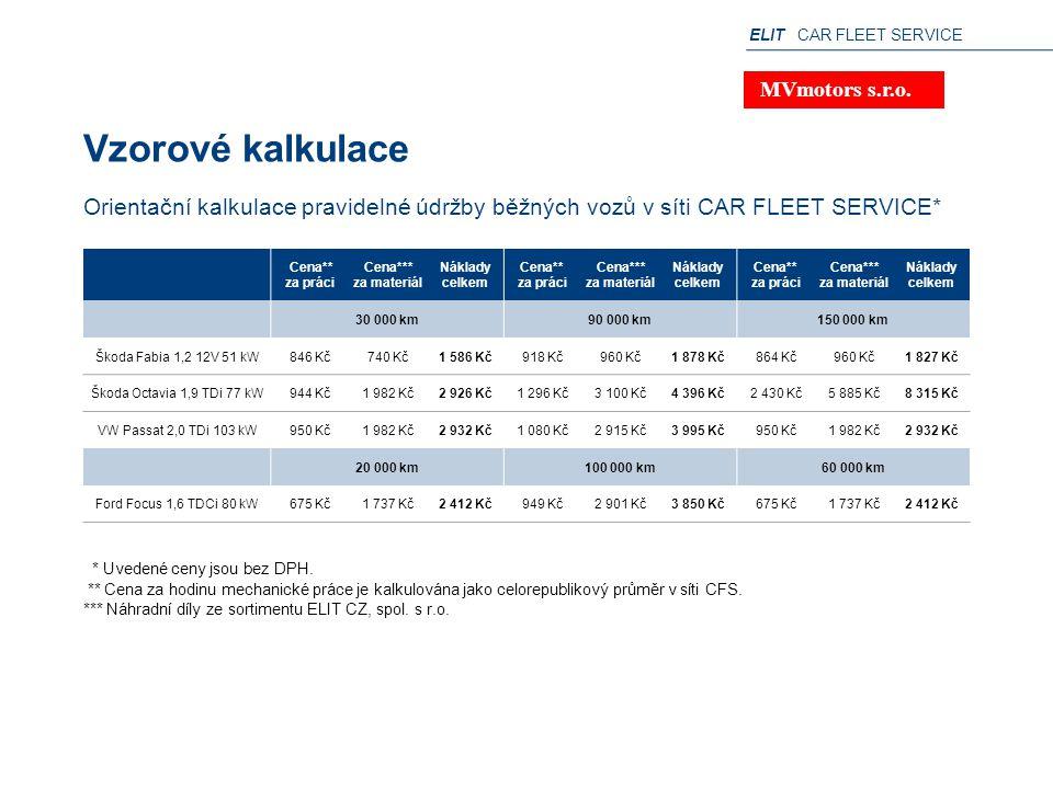 ELIT CAR FLEET SERVICE Vzorové kalkulace * Uvedené ceny jsou bez DPH. ** Cena za hodinu mechanické práce je kalkulována jako celorepublikový průměr v