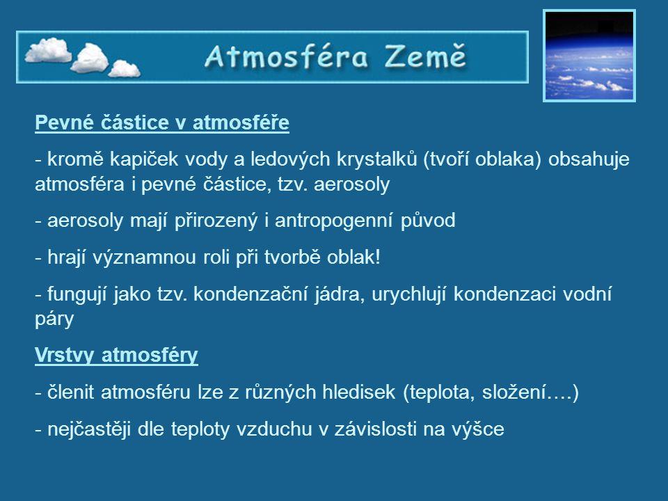 Atmosféra Země, vrstvy atmosféry Pevné částice v atmosféře - kromě kapiček vody a ledových krystalků (tvoří oblaka) obsahuje atmosféra i pevné částice
