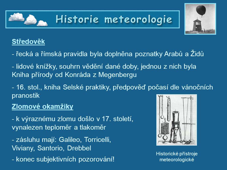 Historie meteorologie 3 Středověk - řecká a římská pravidla byla doplněna poznatky Arabů a Židů - lidové knížky, souhrn vědění dané doby, jednou z nic
