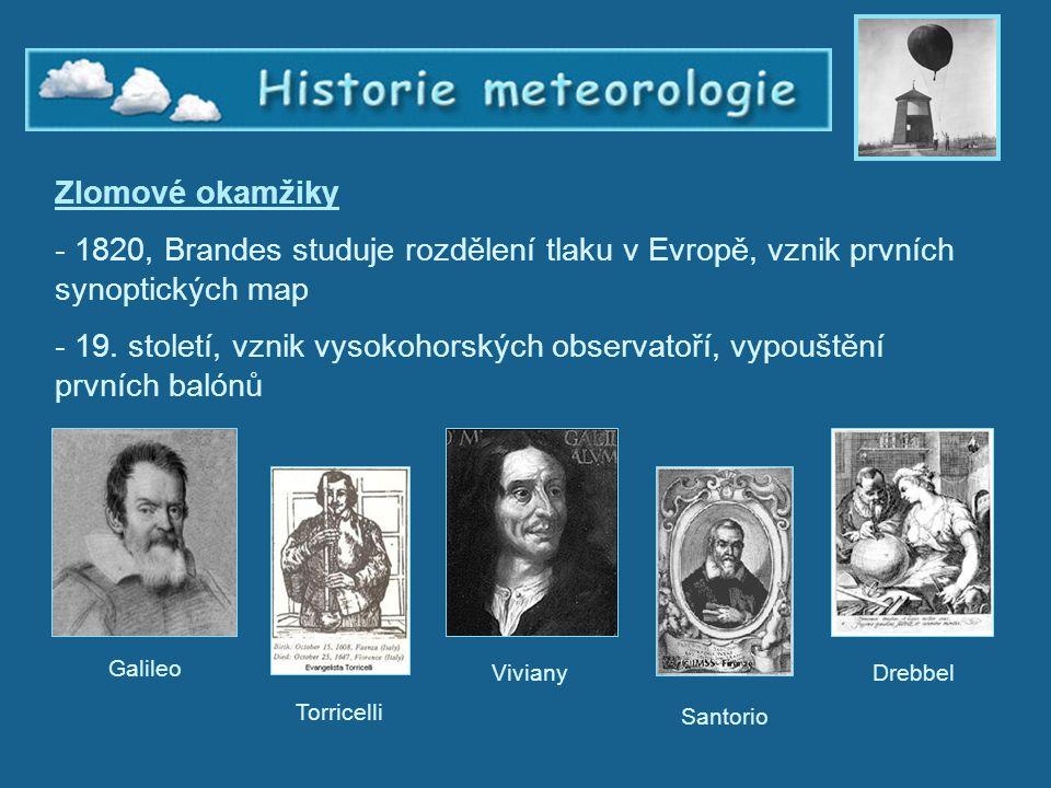 Historie meteorologie 4 Zlomové okamžiky - 1820, Brandes studuje rozdělení tlaku v Evropě, vznik prvních synoptických map - 19. století, vznik vysokoh