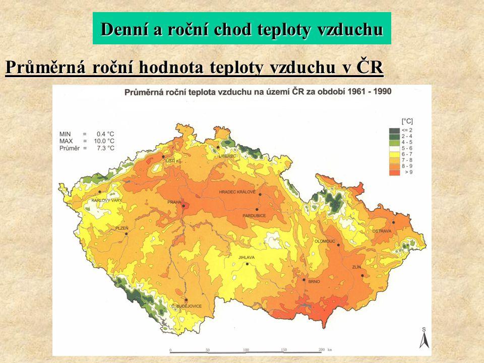 Denní a roční chod teploty vzduchu Průměrná roční hodnota teploty vzduchu v ČR