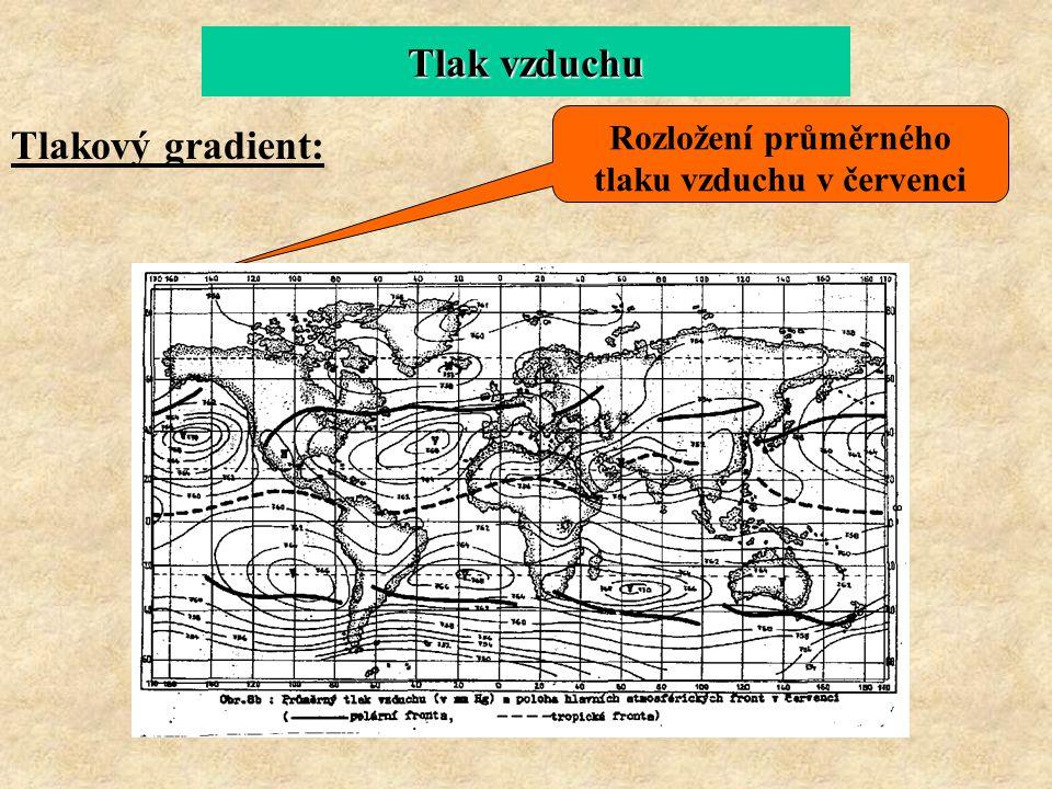 Tlak vzduchu Tlakový gradient: Rozložení průměrného tlaku vzduchu v červenci