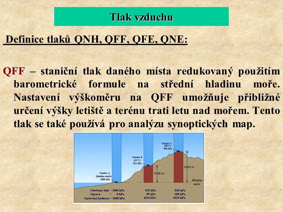 Tlak vzduchu Definice tlaků QNH, QFF, QFE, QNE: QFF QFF – staniční tlak daného místa redukovaný použitím barometrické formule na střední hladinu moře.